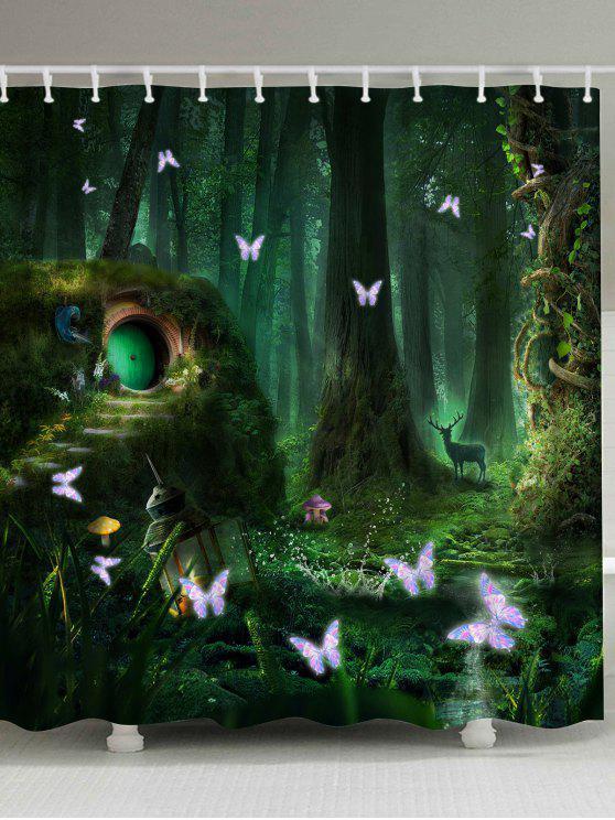 مقاومة العفن ميو نسيج الغابات دش الستار - مسود الخضراء W71 بوصة * L79 بوصة
