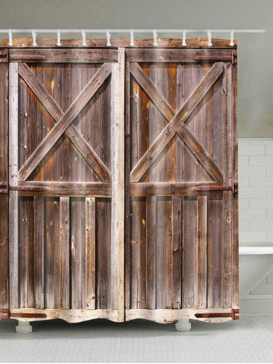 ستار للدش بطبعة باب خشبي قديم - بنى W59 بوصة * L71 بوصة