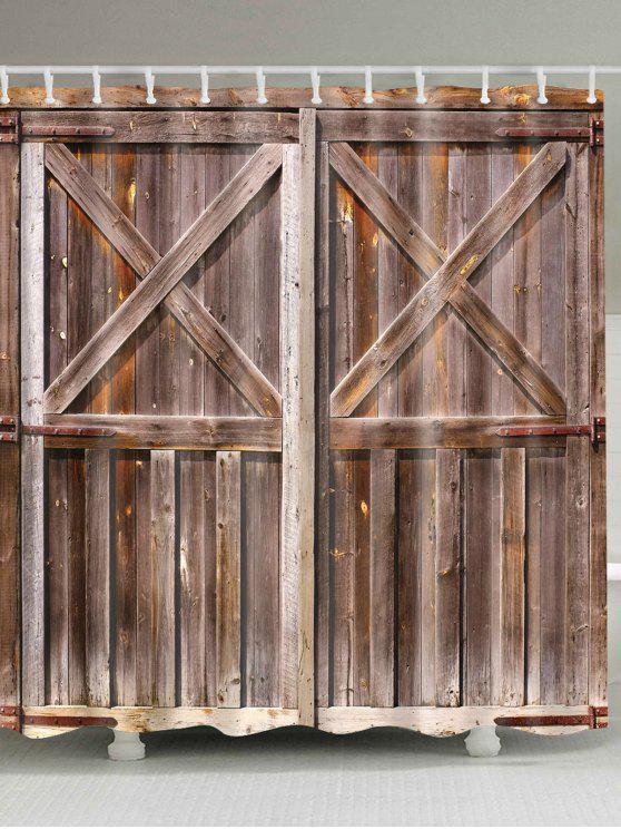 ستار للدش بطبعة باب خشبي قديم - BROWN W71 بوصة * L71 بوصة