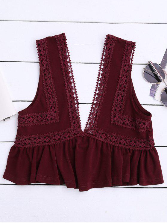best Ruffles Lace Trim Cropped Tank Top - WINE RED S