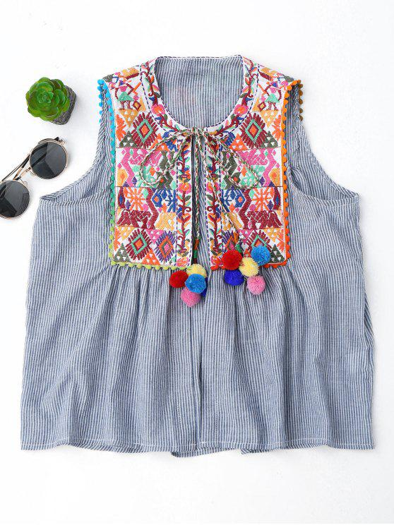 hot Embroidered Open Front Waistcoat with Bell - STRIPE L