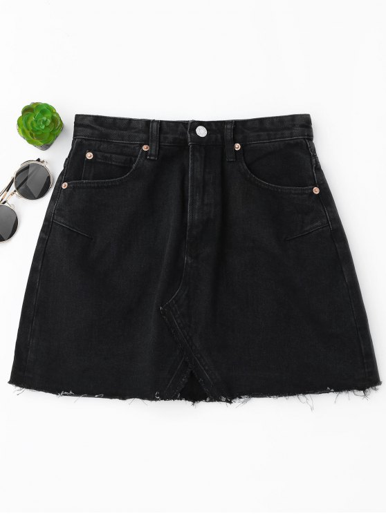 women High Waisted Cutoffs Mini Denim Skirt - BLACK S