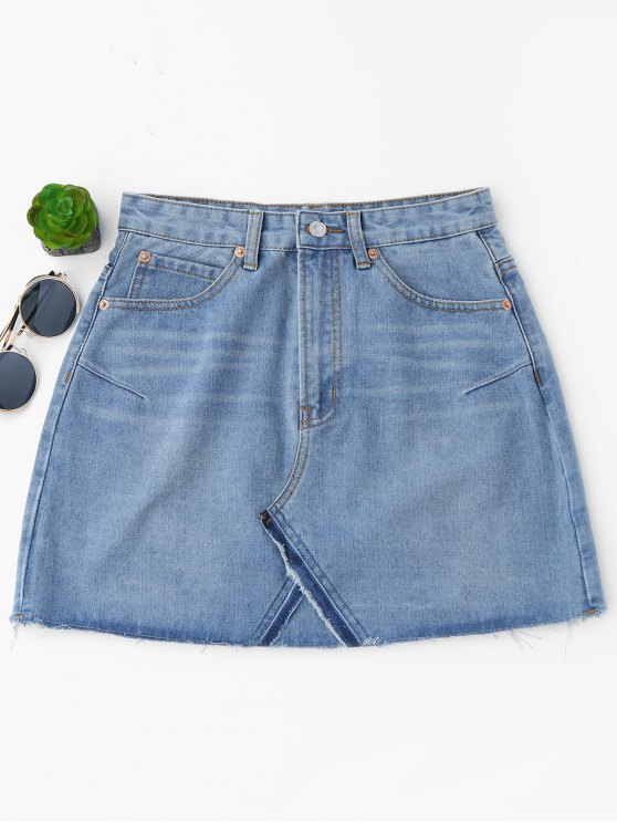 buy High Waisted Cutoffs Mini Denim Skirt - LIGHT BLUE M