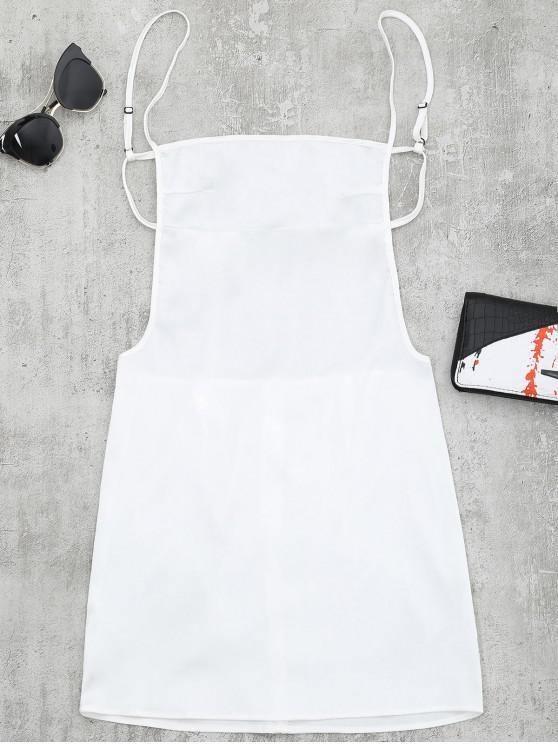 Mini Vestido com Costa Aberta e Fenda - Branco S