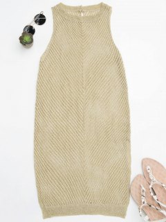 Open Knit Beach Tank Dress Cover Up - Golden