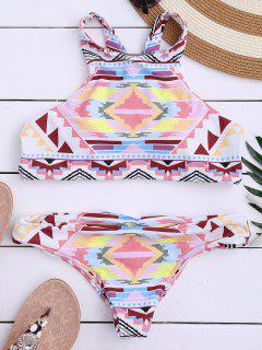 Aztec Print High Neck Bathing Suit - Multicolor S