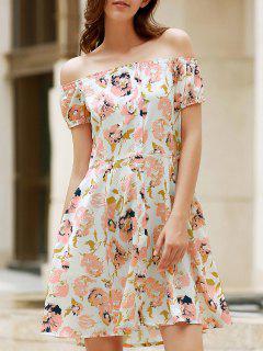 Floral Off The Shoulder Short Sleeve Dress - L
