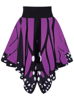 Alta Cintura De La Forma De La Mariposa Falda - Púrpura S