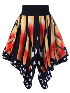 Jupe Graphique En Forme De Papillon Taille Haute - Tangerine L