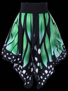 Alta Cintura De La Forma De La Mariposa Falda - Verde S