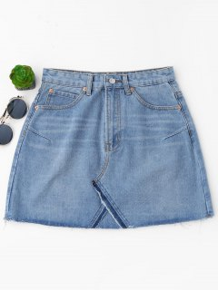 Mini Jupe Denim Découpé à Taille Haute - Bleu Clair M