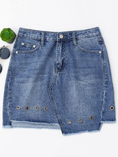 Mini Cutoffs Asymmetrical Denim Skirt - Denim Blue L