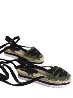 Tie Leg Closes Toe Espadrille Sandals - Army Green 39