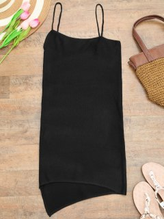 Camisole Knit Cover Up Slip Dress - Black