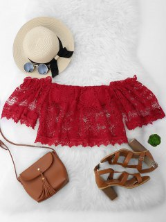 Cropped Padded Off Shoulder Lace Top - Red S