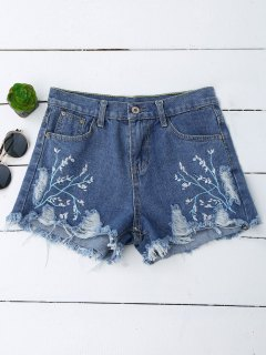 Embroidered Cutoffs Ripped Denim Shorts - Denim Blue M