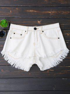 Cutoffs High Low Denim Shorts - White S