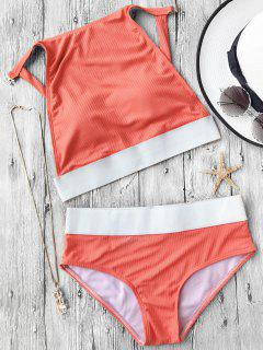 Two Tone Padded High Neck Bikini Set - Orange S