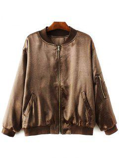 Fitted Zipped Bomber Jacket - Gold Brown L