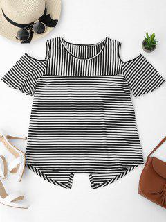 Cold Shoulder Striped Back Slit T-shirt - Black M