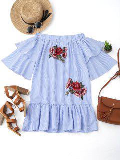 Off Shoulder Striped Drop Waist Dress - Blue L