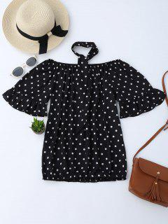 Off Shoulder Polka Dot Blouse With Choker - Black L
