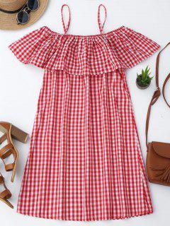 Vestido De Cuadro Con Tirantes Finos Con Volantes - Rojo Xl