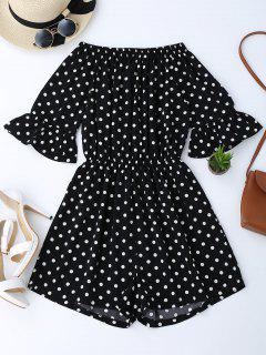 Off The Shoulder Polka Dot Romper - Black Xl