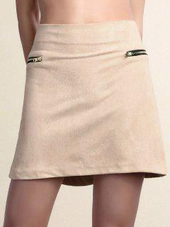 Suede Zipper Embellished Mini Skirt - Pink S