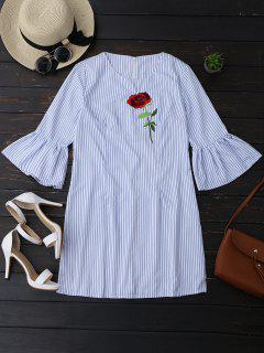 Striped Tunic Dress With Embroidered Rose - Stripe L