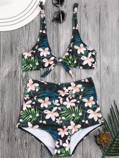 Scoop Tropical Floral Tied High Waisted Bikini - Floral Xl