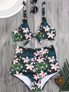 Bikini à Haute Taille En Motif Floral Tropical  - Floral L