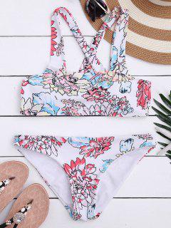 Floral Print Square Neck Bikini Set - White L