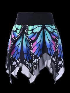Butterfly Print Handkerchief Skirt - Blue L