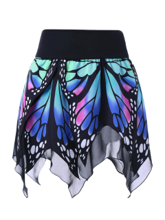 Butterfly Print Handkerchief Skirt - Blue 2xl