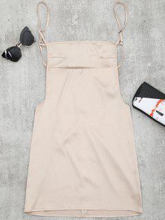 Backless Mini Slip Dress - Apricot M