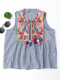 Embroidered Open Front Waistcoat With Bell - Stripe L