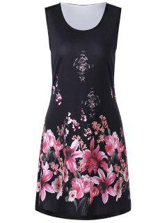 Floral Print Shift Tank Dress - Black Xl