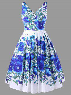 Floral Print High Waisted Swing Dress - Blue 2xl