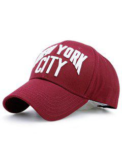 Showy Letters Embroidery Baseball Hat - Wine Red