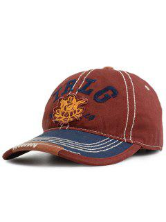 Outdoor TRLG Pattern Striped Embroidery Baseball Hat - Wine Red