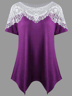 Camiseta Del Dobladillo Del Pañuelo Del Panel Del Ganch - Púrpura Xl