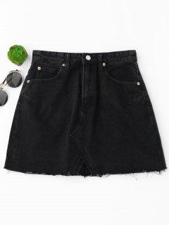 Mini Jupe Denim Découpé à Taille Haute - Noir S