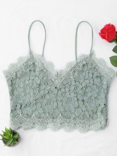 Cami Scalloped Lace Tank Top - Light Green M