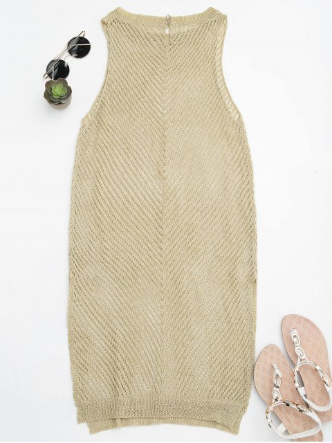 hot Open Knit Beach Tank Dress Cover Up - GOLDEN ONE SIZE Mobile