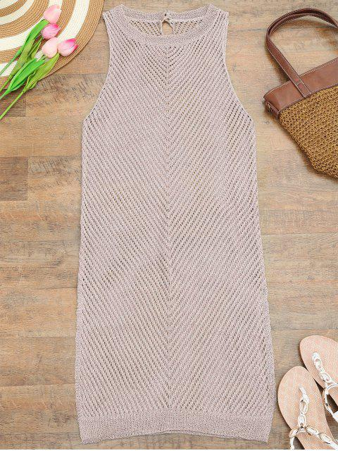 outfit Open Knit Beach Tank Dress Cover Up - PINK ONE SIZE Mobile
