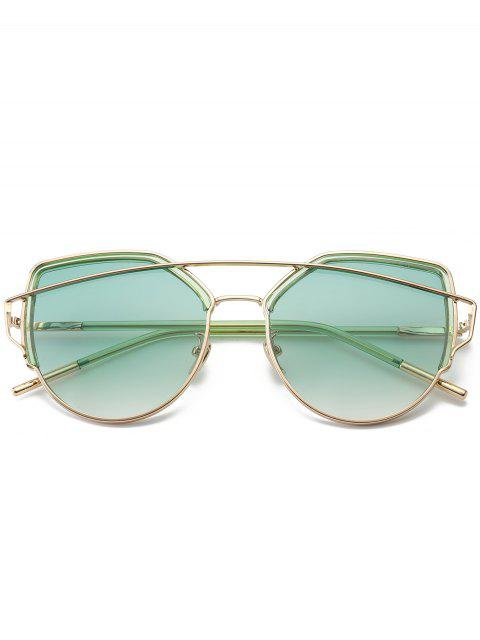 outfits Cat Eye Metal Crossbar Sunglasses - GREEN  Mobile
