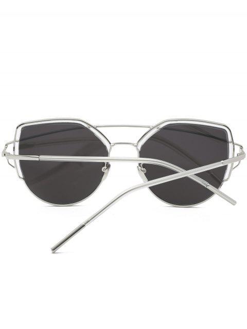 shop Cat Eye Metal Crossbar Sunglasses - SILVER  Mobile