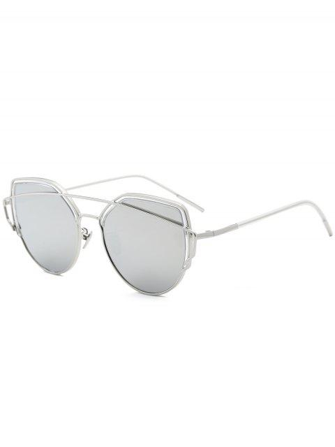 shop Cat Eye Metal Crossbar Sunglasses - SILVER  Mobile
