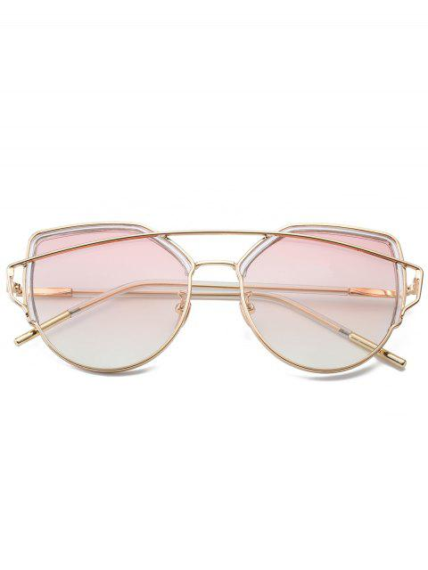 trendy Cat Eye Metal Crossbar Sunglasses - PEARL LIGHT PINK  Mobile